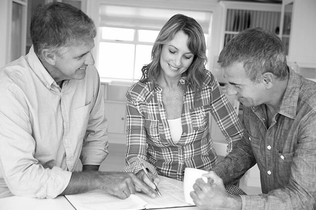 Accountant with clients