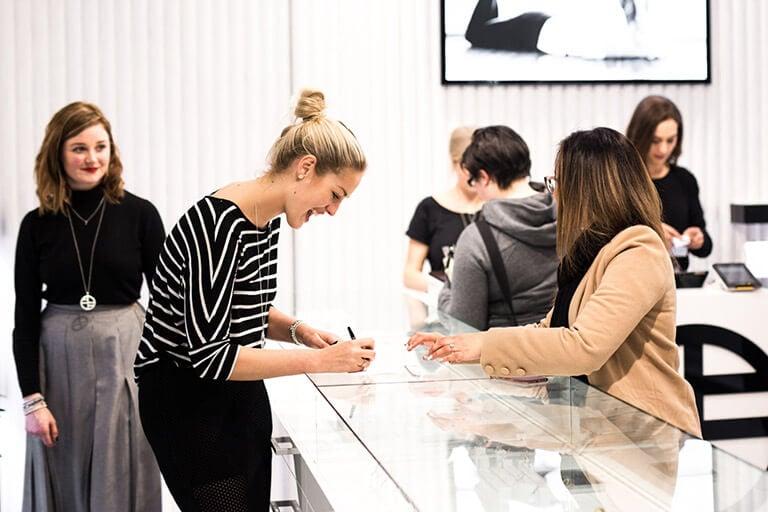 Hannah Vasicek in the Francesca Melbourne store