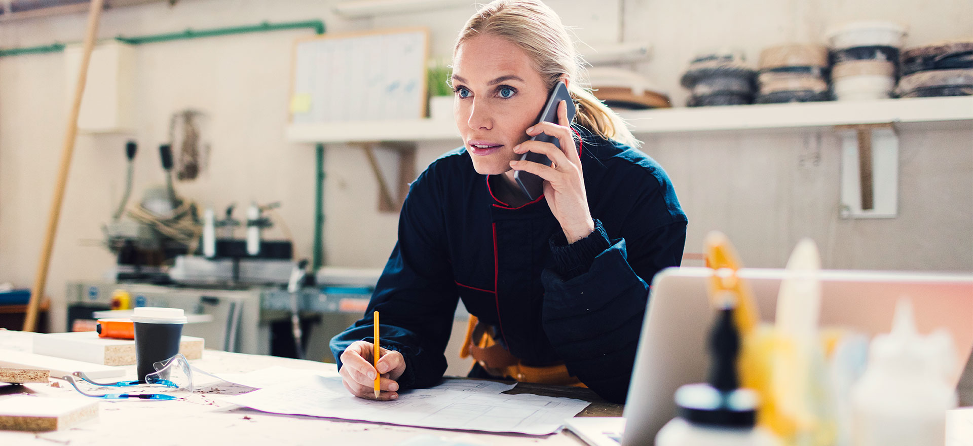 woman at a desk considering short-term business loans