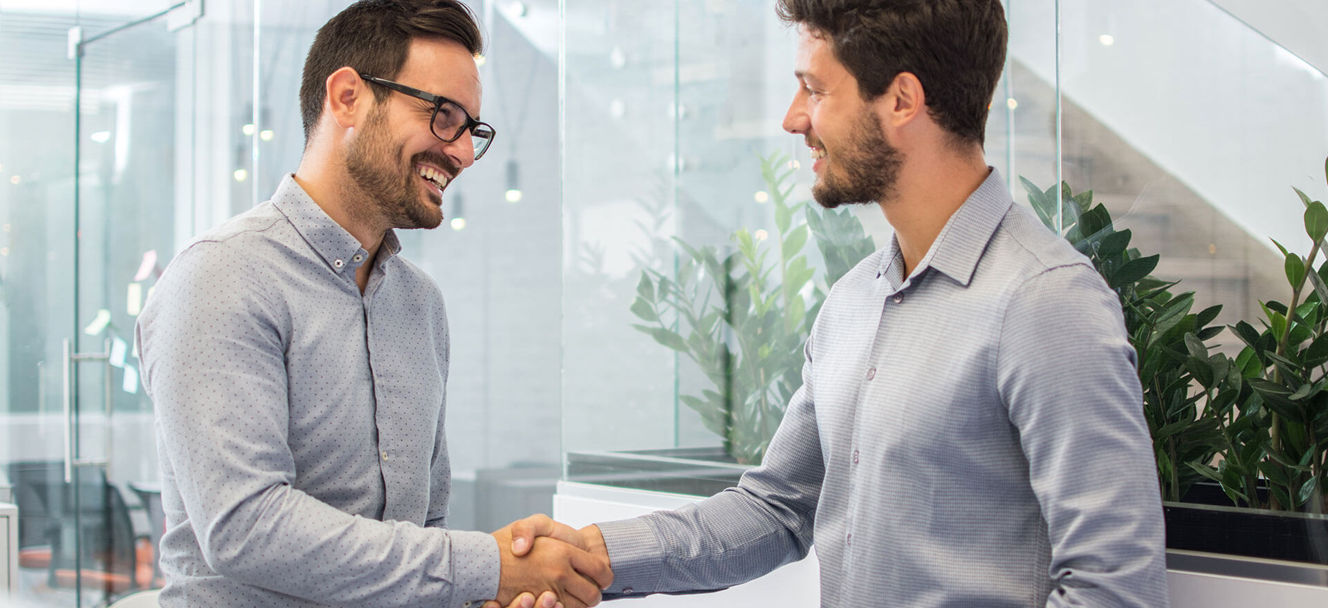 Two men discussing a commercial loan