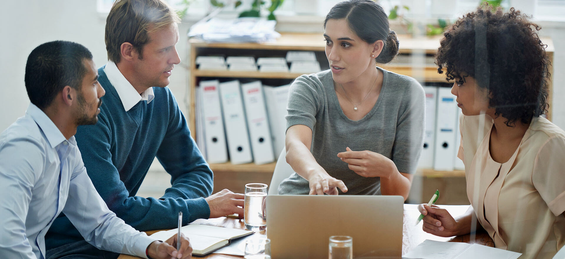 small business leaderships skills in action during a meeting