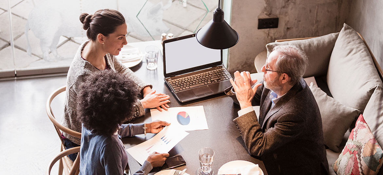 Accountants discussing EBIT and EBITDA